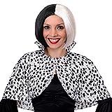 Déguisement de la femme cruelle avec les dalmatiens avec cette cape couvre épaule + une perruque noire et blanche pour adulte. Ideal pour les enterrements de vie de jeune fille. ( Standard )