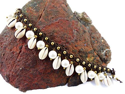 Kauri Muschel Fußkettchen Echte Perlen Makramee Thailand Fußband Surfer Boho Gypsy Tribal Micro Macrame (Natürliches Garn)