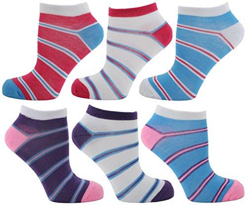 RJM Ladies Multipack of Striped Trainer Liner Socks