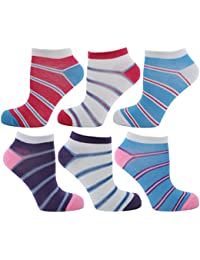 RJM Ladies Pack of Striped Trainer Liner Socks
