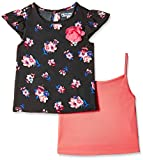 Nauti Nati Girls' Top (NSS16-801_Black and Pink_3 - 4 Years)