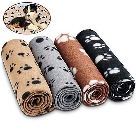 Comsmart Haustierdecke für Hunde und Katzen, weiche Fleecedecken, Schlafmatte mit Pfotenabdruck, für Kätzchen, Welpen…