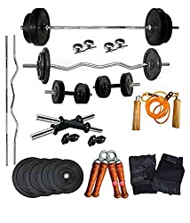Aurion 32 kg home gym Set with 3ft curl and 5ft plain rod+ Accessories
