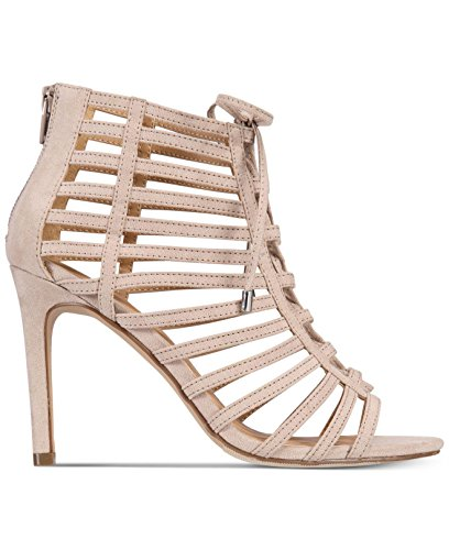Material Girl Frauen Offener Zeh Besonderer Anlass Riemchensandalen Braun Groesse 9 US/40 EU (Faux Suede Strappy Wedges)