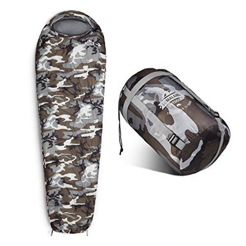 Lumaland Outdoor Schlafsack Mumienschlafsack, 230 x 80 cm, inklusive Packsack, 50 x 25 cm gepackt, camouflage grau