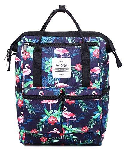 Disa mini zaino sacchetto pannolino borsa viaggio donna | 35x23x15cm | fenicotteri tropicali