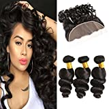 Huarisi Brazilian Wavy Hair Bundles with Frontal Loose Wave Ear to Ear Closure Pieces plus Medium Brown Lace 100 Real Human Hair Extensions Weaves Prime UK 14 16 18 + 12 Inches