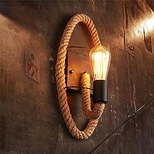 Lámpara De Pared De La Vendimia E27 Iluminación Interior Elíptica Sola Cabeza Hierro Y Cuerda De Cáñamo Apliques De Pared Retro Loft De Estilo Industrial ...