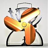 Ventilateur pour poêles, ventilateur de cuisinière, ventilateur de cheminée, or, 3 pales de rotor, 12,5 cm respectueux de l'environnement - sans électricité, avec poignée de transport