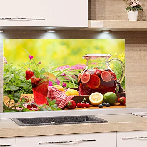 GRAZDesign Spritzschutz Glas für Küche Herd, Bild-Motiv Garten Getränke Natur Beere Obst, Küchenrückwand Küchenspiegel Glasrückwand / 100x50cm
