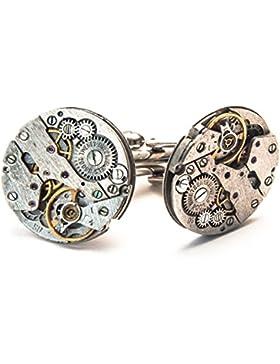 Herren Manschettenknöpfe im Uhrenwerk-Design Steampunk-Stil silberfarben Vintage 20mm