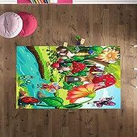 Çocuk Odası Oyun Halısı, Kaymaz Tabanlı Halı ve Kilimler, Renkli Kelebek Desenli Kız Erkek Çocuk Odası Halısı, Bebek Odası Halısı (80x280)
