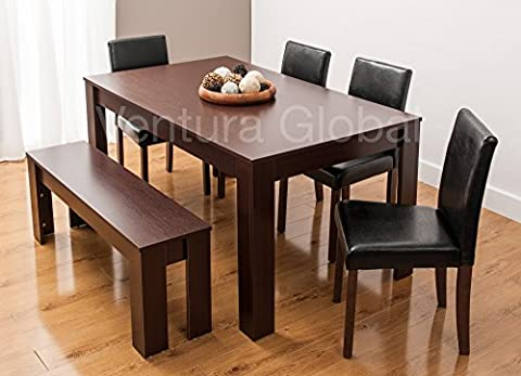 Dining Table with Faux Leather Chairs and Bench Oak Walnut Furniture Room Set by SMARTDESIGNFURNISHINGS® (Table & 4 Chairs & Bench, Walnut)