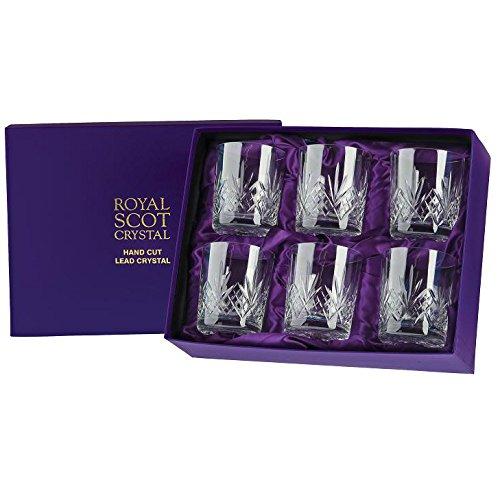 Royal Scot Crystal Whiskygläser aus Glaskristall in Geschenkbox, Highland, 6er-Set Crystal Goblet Set
