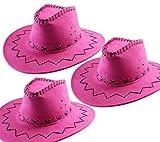 3.STK. Cowboy Hut Pink für Erwachsene Wildlederoptik Western Kostüm Set