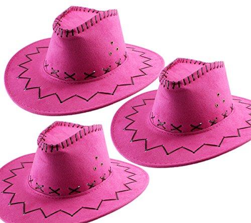 GYD 3.Stk. Cowboy Hut Pink für Erwachsene Wildlederoptik Western Kostüm Set