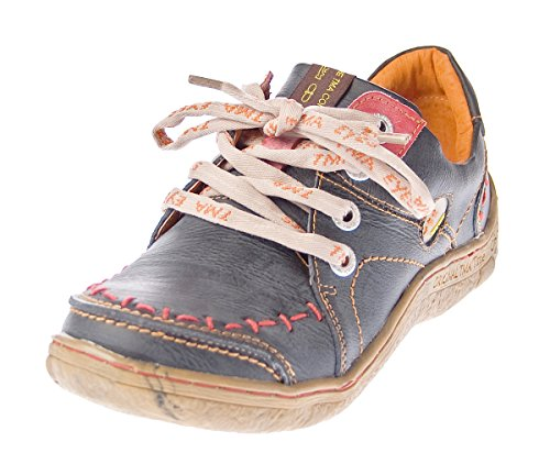 TMA Damen Leder Halb Schuhe Comfort Sneakers Schwarz Used Look Eyes 1646 Schnürer Turnschuhe Gr. 38