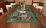 Hare Krishna Patchwork Tischdecke Bestickt mit grüner Baumwolle 50 x 152 cm