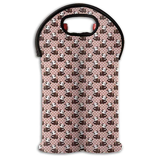 Panda with Icecream Polk-a-dot 2 Bottle Wine Carrier Wine Tote Carrier Bag/Purse for Champagne, Wine, Water Bottles,Wine Bottle Carrier. -