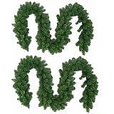 Wohaga 2er Set Künstliche Weihnachtsgirlande Tannengirlande, je 270cm, je 180 Spitzen, In- / Outdoor