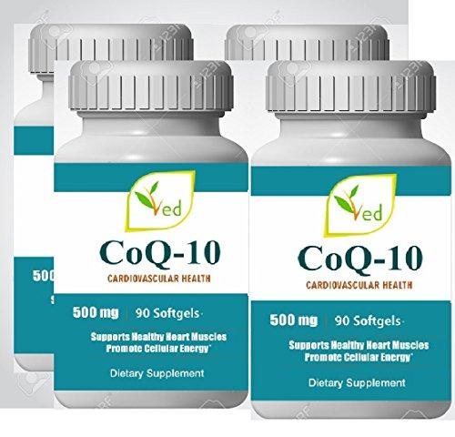 CoQ 10, Co Enzym Q10 500mg 360 Kapseln (Softgels), 1 Jahr Versorgung. GMP Garantierte Qualität