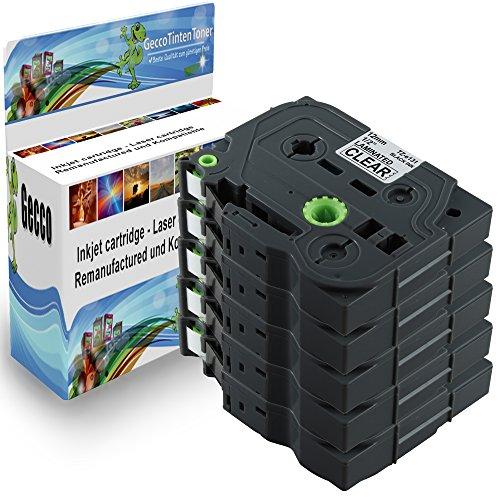 Preisvergleich Produktbild Spetan 5x Schriftband Kassette Kompatibel für Brother P-Touch TZ 131 TZE131 TZ131 Schwarz auf Transparent 12mm x 8m Schreibband Beschriftungsband Farbband 5x TZ-131-Black