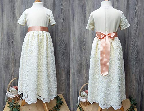 Elegantes Taufkleid, schickes Kommunionkleid, cremefarbenes Brautmädchenkleid, langes Kleid für Blumenmädchen (Satin Blumenmädchen Kleider Elfenbein)