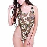 YIZYIF Trajes De Una Pieza Tanga Bikini Conjunto Mono Mujer Trajes De Baño Ropa Interior Leotardo Nadar Para Mujeres Camuflaje Talla Única
