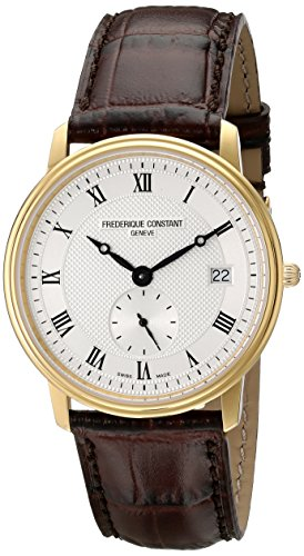 Frederique Constant Slim Line FC245M4S5 37mm Stainless Steel Case Brown Calfskin Anti-Reflective Sapphire Men's Watch