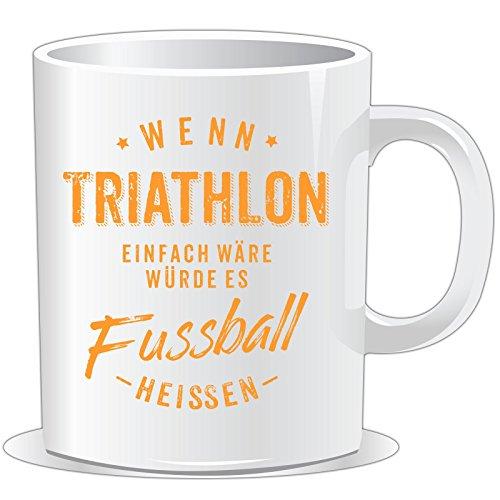 getshirts - RAHMENLOS® Geschenke - Tasse - Wenn Triathlon einfach wäre würde es Fussball heissen - orange - uni uni