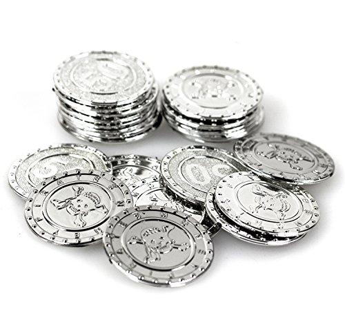 Piraten Silbermünzen 25 Stück Silber glitzernd Seeräuber Kostüm ()