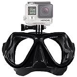 Buwico Bajo el agua cámara Plain máscara de buceo Scuba snorkel gafas de natación para GoPro, negro