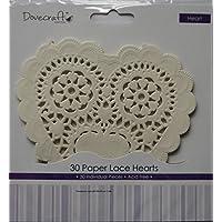 Dovecraft - Centrino di carta a forma di cuore, con pizzo decorativo, motivo: Tea Party, 30 pezzi
