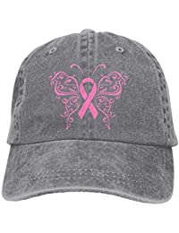 Personality Caps HatsSports Denim Cap Pink Ribbon Butterfly- Breast Cancer 1 Women Snapback Casquettes Adjustable