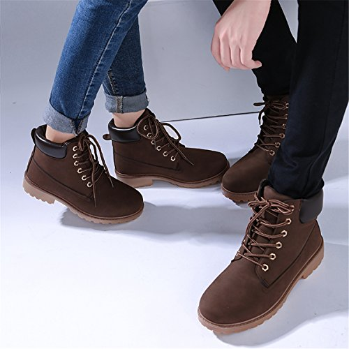 SGoodshoes Bottes Femme Hiver Boots Fourrées Courtes Doublure Chaude Marron