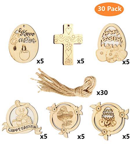 Pixhotul 30 pezzi decorazioni in legno di pasqua a forma di coniglietto e croci, fette di legno grezzo con corde per decorazioni pasquali da appendere