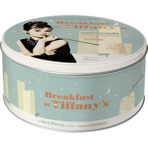 Nostalgic-Art 30604 Breakfast at Tiffany's Blue, Vorratsdose Rund L