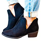 Kootk Boots for Women Ankle Winter Autumn Cut Out Stacked Mid Low Heel Western Side Zipper Pointed Toe Booties