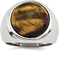 IceCarats Stainless Steel Tigers Eye Ring