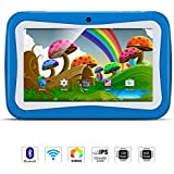 QIMAOO Kids 7 Inch Tablet Pc, Android 5.1 Lollipop Quad Core Tablet External 3G, 8Gb ROM 1Gb Ram, WiFi Bluetooth USB Dual Camera Games Kidoz(with Blue Silicone Case)