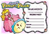 Super Mario Prinzessin Peach Geburtstagseinladungen, Rosa, A5, Querformat,12Stück WITHOUT Envelopes