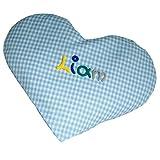 Baby Körnerkissen mit Namen Herzform - Handgefertigtes Wärmekissen oder Kühlkissen - Rapssamenkissen aus Baumwolle, MN_Farbe:hellblau