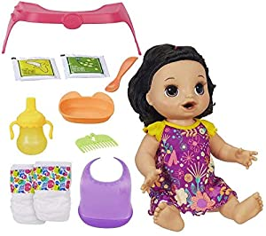 Baby Alive, muñeca de Pelo Recto Happy Hungry Baby Brown, Hace más de 50 Sonidos y Frases, comen y cacas, Bebidas y húmedos, para niños de 3 años en adelante