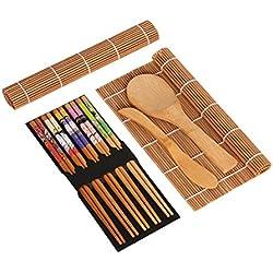 BESTONZON 15 pezzi di Sushi Kit con 2 Sushi Rolling Mats, 5 paia di bacchette, paddle di riso, spalmatore di riso - stuoie e utensili di sushi di bambù.