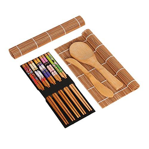 La descripcion ¿Estás confundido acerca de cómo hacer sushi fácilmente? ¿Estás buscando un kit de sushi completo? Este kit debe ser tu primera opción. 15 piezas de sushi que hacen que el kit incluye 1 paquete de palillos, 2 esteras, 1 pallet, 5 pares...