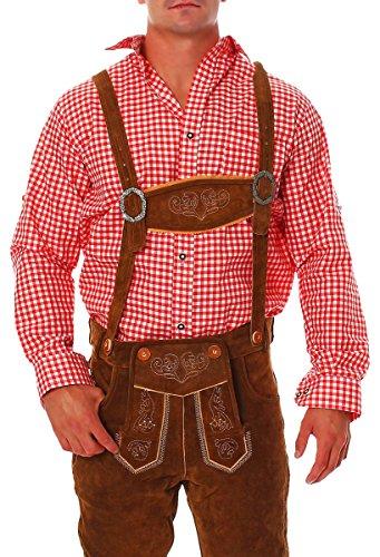 Fashion4Young Herren Trachtenhemd Karohemd Trachten Hemd Kariert Lederhose Fit Langarm (L, Rot Weiß)