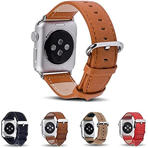Apple Watch Cinturino, Fullmosa® 42mm Cinturino iWatch Wristband di Ricambio in Pelle Pieno Fiore con Fibbia in Acciaio Inossidabile per Apple Watch, Marrone - Lega Wristband