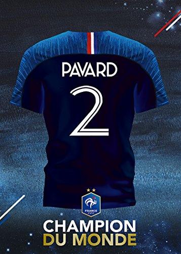 Maillot Numéro 2 Equipe de France - Champion du Monde 2018 - Benjamin PAVARD. Déco intérieur, salon, chambre, séjour. (Sans Cadre Photo) 50x70 cm