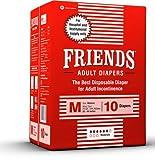 FRIENDS Adult Diapers for Unisex (Medium) - 10 Pieces