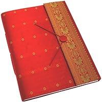 Fair Trade Album per fotografie ricoperto in tessuto sari extra grande rosso 260 x 350 mm